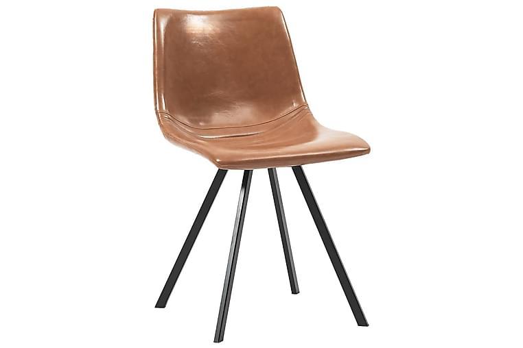 Matstolar 2 st konjaksbrun konstläder - Brun - Möbler & Inredning - Stolar - Matstolar