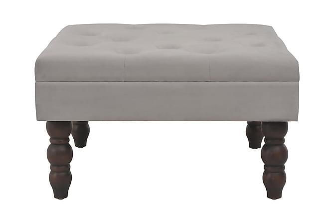 Pall mörkgrå 60x60x36 cm sammet - Grå - Möbler & Inredning - Stolar - Pallar