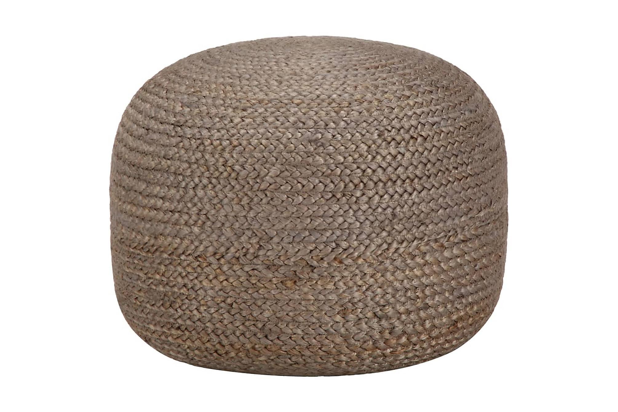 Handgjord sittpuff ljusgrå 45×30 cm jute