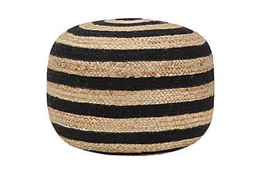Handgjord sittpuff svart 45x30 cm jute