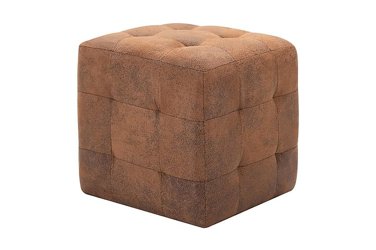 Sittpuff 2 st brun 30x30x30 cm konstmocka - Brun - Möbler & Inredning - Fåtöljer & fotpallar - Sittpuff