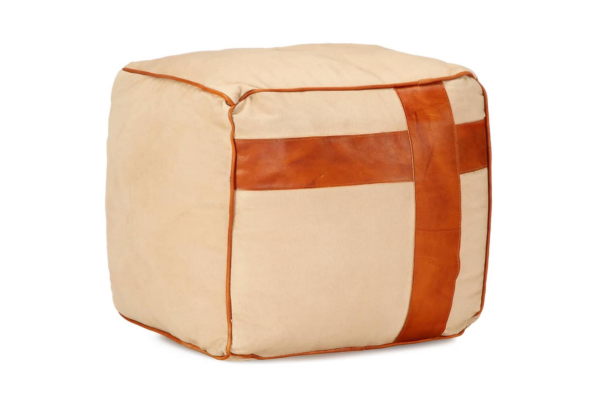 Sittpuff beige 40x40x40 cm bomullskanvas och läder