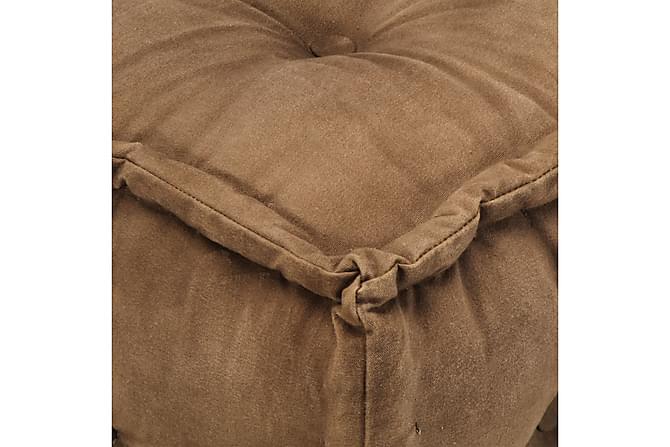 Sittpuff brun 40x40x40 cm bomullskanvas - Inomhus - Fåtöljer & fotpallar - Sittpuff
