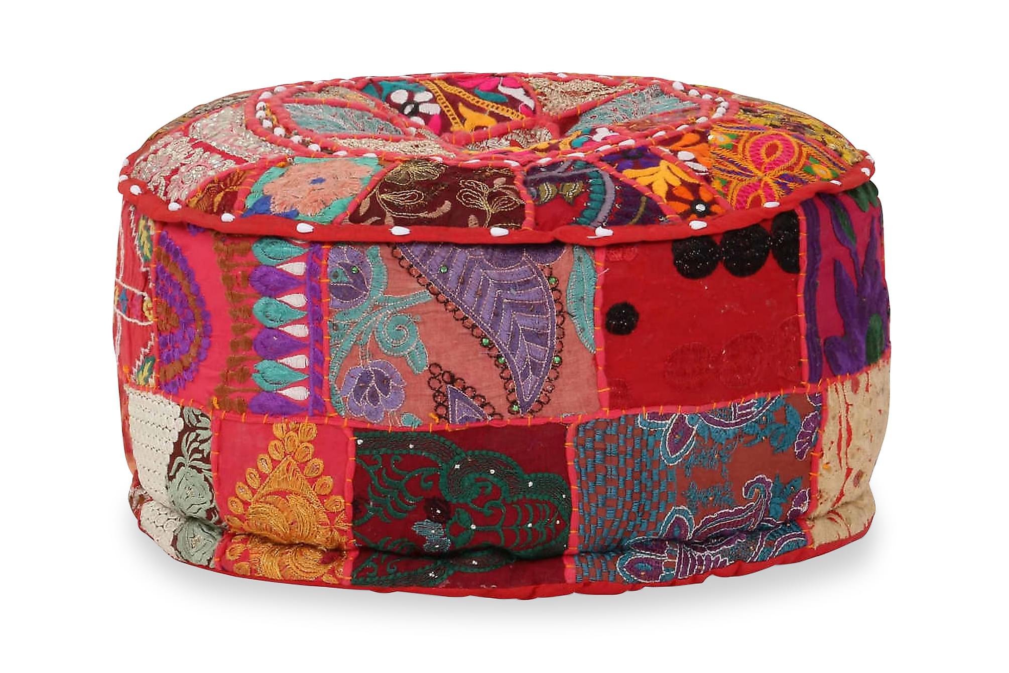 Sittpuff med lappmönster rund bomull handgjord 40×20 cm röd