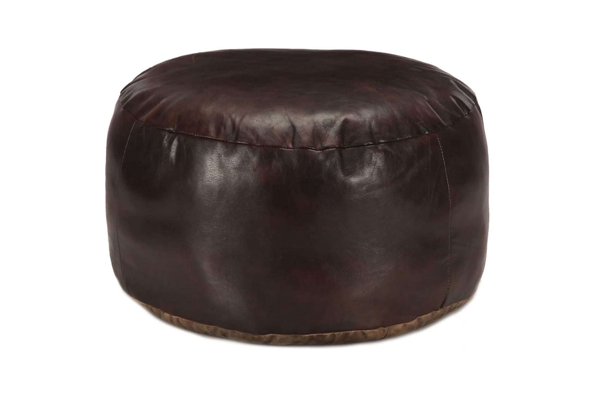Sittpuff mörkbrun 60×30 cm äkta getskinn