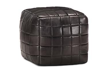 SITTPUFF svart 40x40x40 cm äkta getskinn
