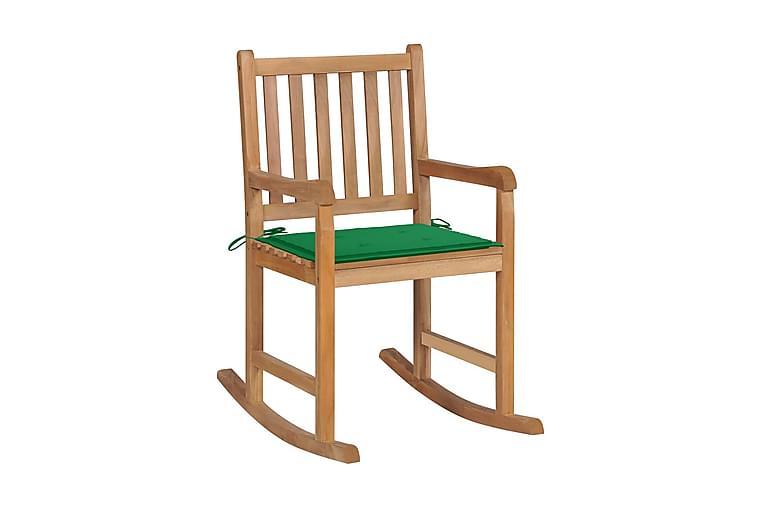 Gungstol med grön dyna massiv teak - Möbler & Inredning - Stolar - Snurrstolar & gungstolar