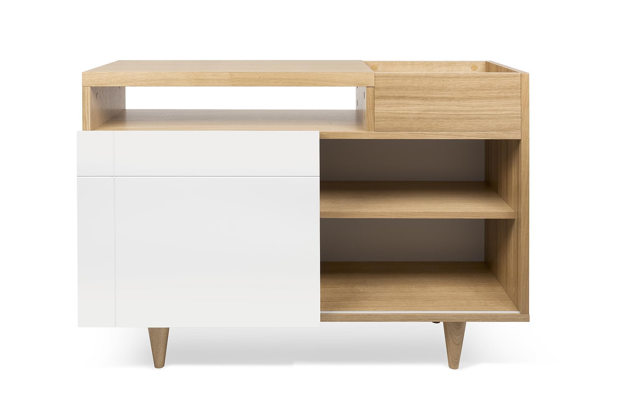 ARIELLA TV-bänk 110 Ek/Vit, Tv-möbelset