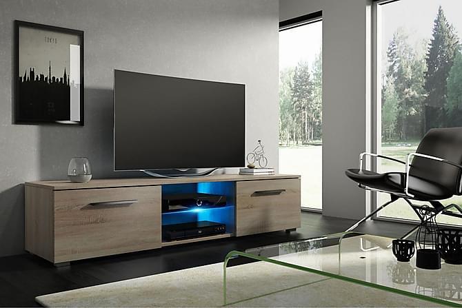 CALUM TV-bänk 140 LED-belysning Natur/Trä - Inomhus - Mediamöbler - Tv-bänkar