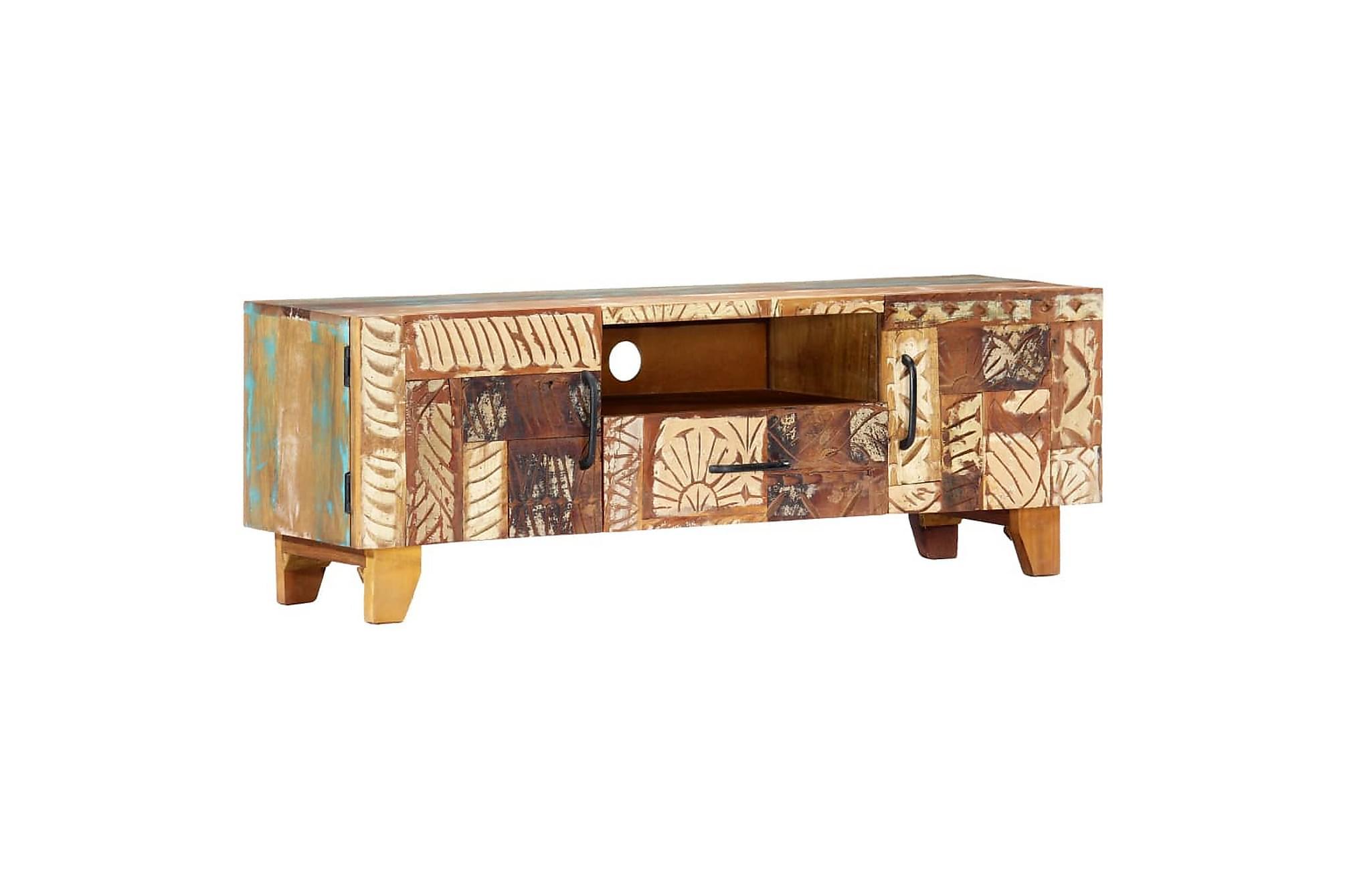 Handsnidad TV-bänk 120x30x40 cm massivt återvunnet trä