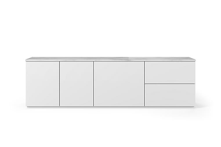 KOLESAR Tv-bänk 2 Lådor Marmor Vit/Grå - Vit/Grå - Möbler & Inredning - Mediamöbler - Tv-bänkar