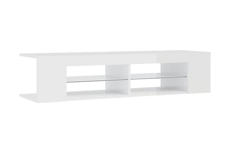 TV-bänk med LED-belysning vit högglans 135x39x30 cm - Vit - Möbler & Inredning - Mediamöbler - Tv-bänkar