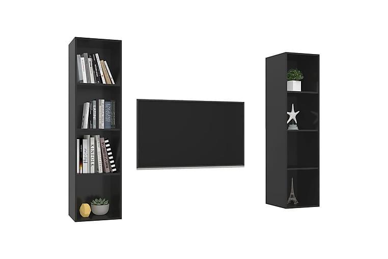 Väggmonterade tv-skåp 2 st svart högglans spånskiva - Svart - Möbler & Inredning - Mediamöbler - Tv-bänkar