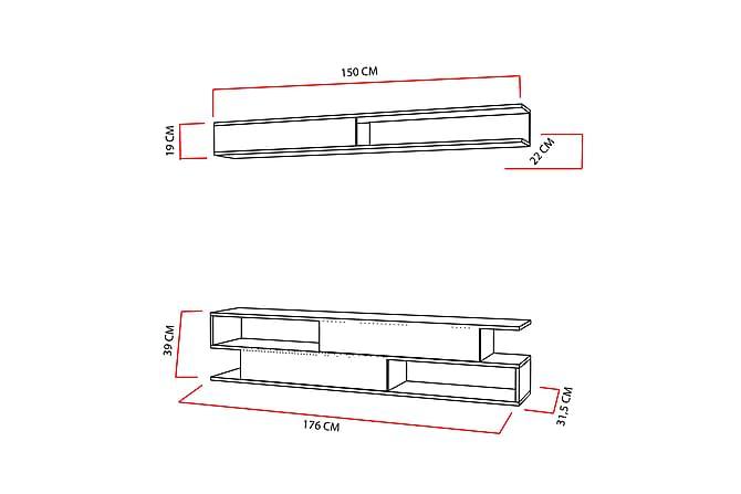 DERESIA Tv-bänk med Hylla Vit/Teak - Vit/Teak - Möbler & Inredning - Mediamöbler - Tv-möbelset