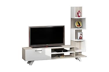 MASCONE Tv-bänk med Sidobokhylla Vit