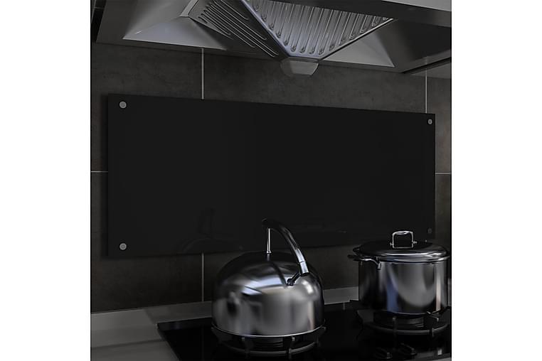 Stänkskydd svart 100x40 cm härdat glas - Svart - Möbler & Inredning - Inredning - Husgeråd & kökstillbehör