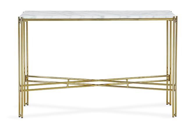 SUMAYA Avlastningsbord 100 cm Marmor Vit/Mässing - Möbler & Inredning - Bord - Marmorbord