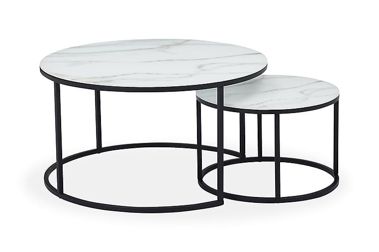 JAMONA Satsbord Marmorglas Svart/Vit - Möbler & Inredning - Bord - Satsbord