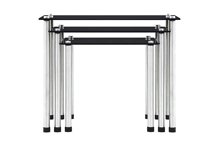 Satsbord 3 st svart härdat glas - Svart - Möbler & Inredning - Bord - Satsbord