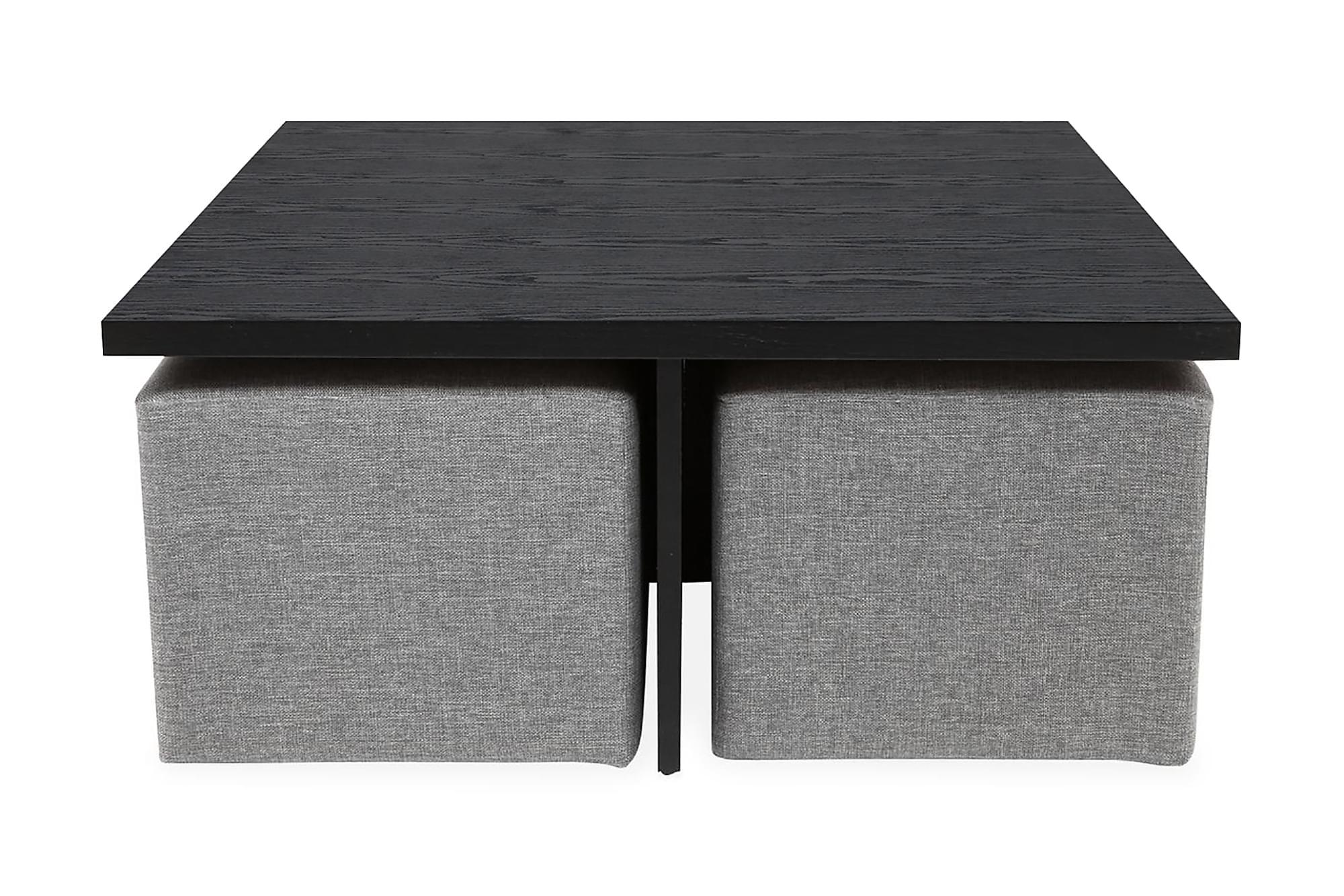 BONDI Soffbord 100 med 4 Pallar Svart/Ljusgrå, Soffbord