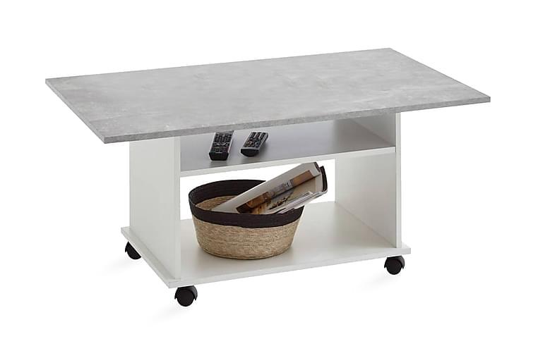 FMD Soffbord med länkhjul betonggrå och vit - Grå - Möbler & Inredning - Bord - Soffbord