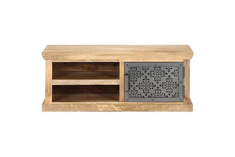 Soffbord med dörr 90x50x35 cm massivt mangoträ - Svart - Möbler & Inredning - Bord - Soffbord