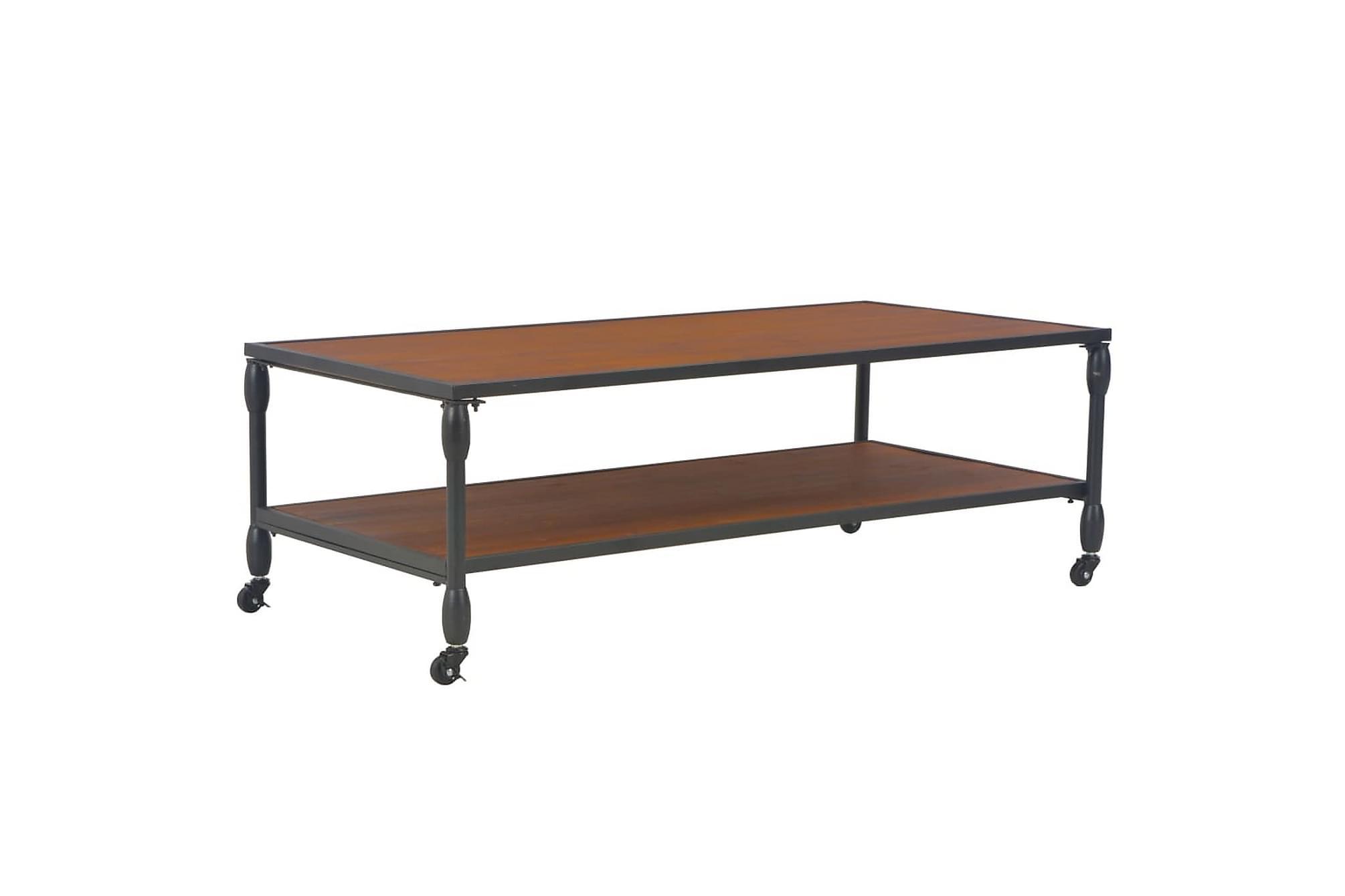 Soffbord med hylla 120x60x40 cm massivt granträ