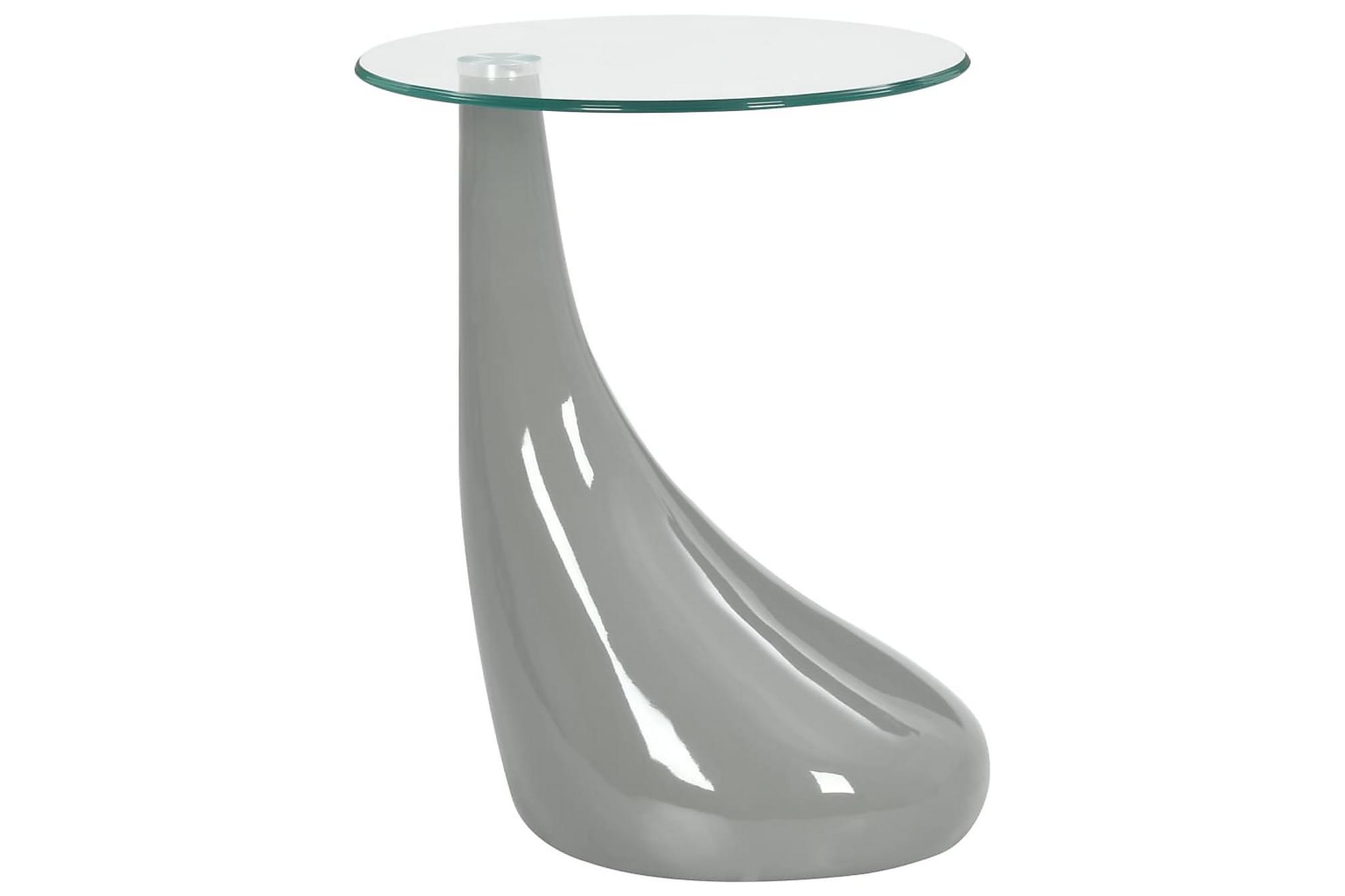 Soffbord med rund glasskiva högglans grå