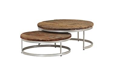 Soffbord set 2 st massivt sliperträ och stål