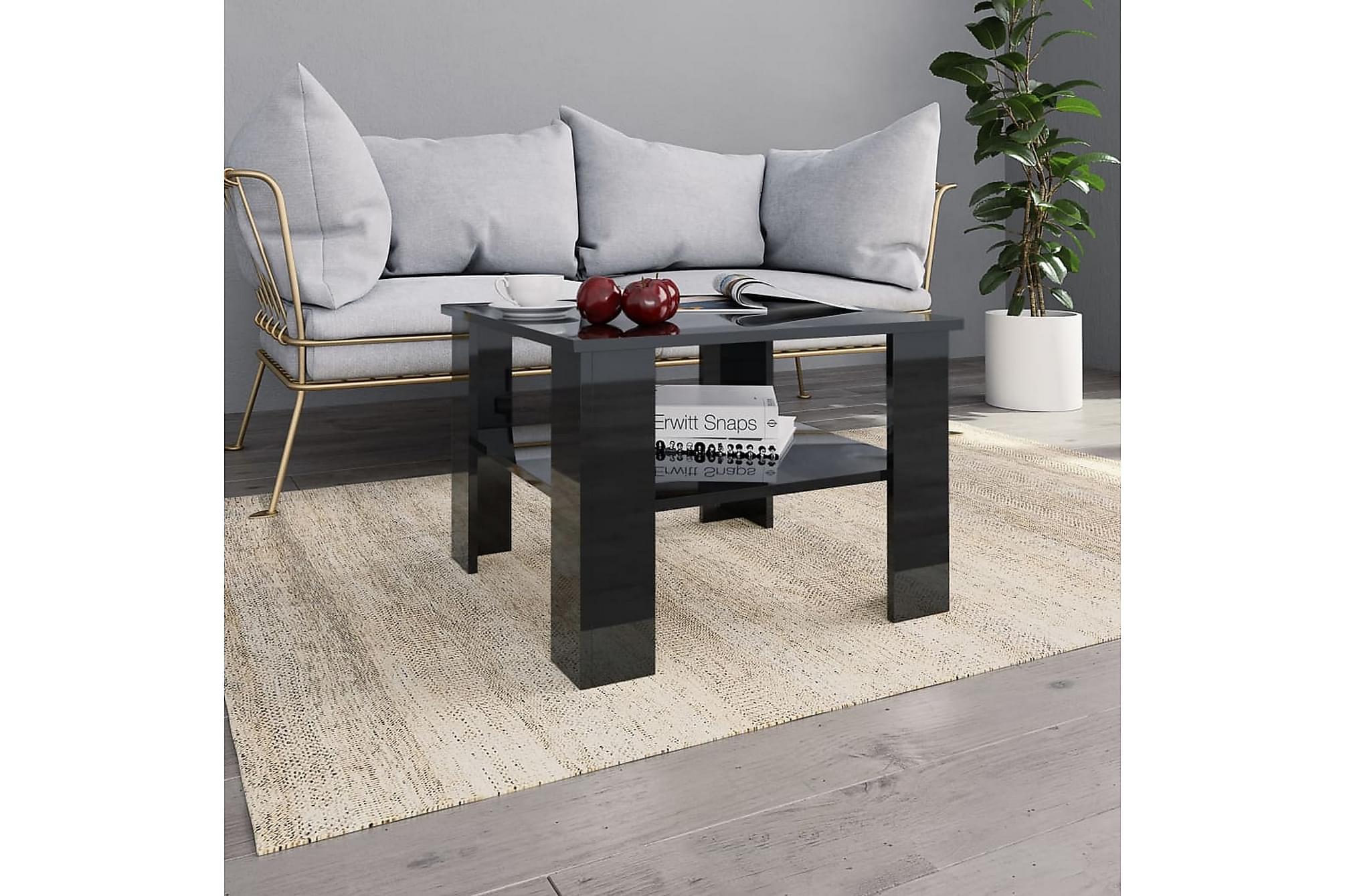 Soffbord svart högglans 60x60x42 cm spånskiva