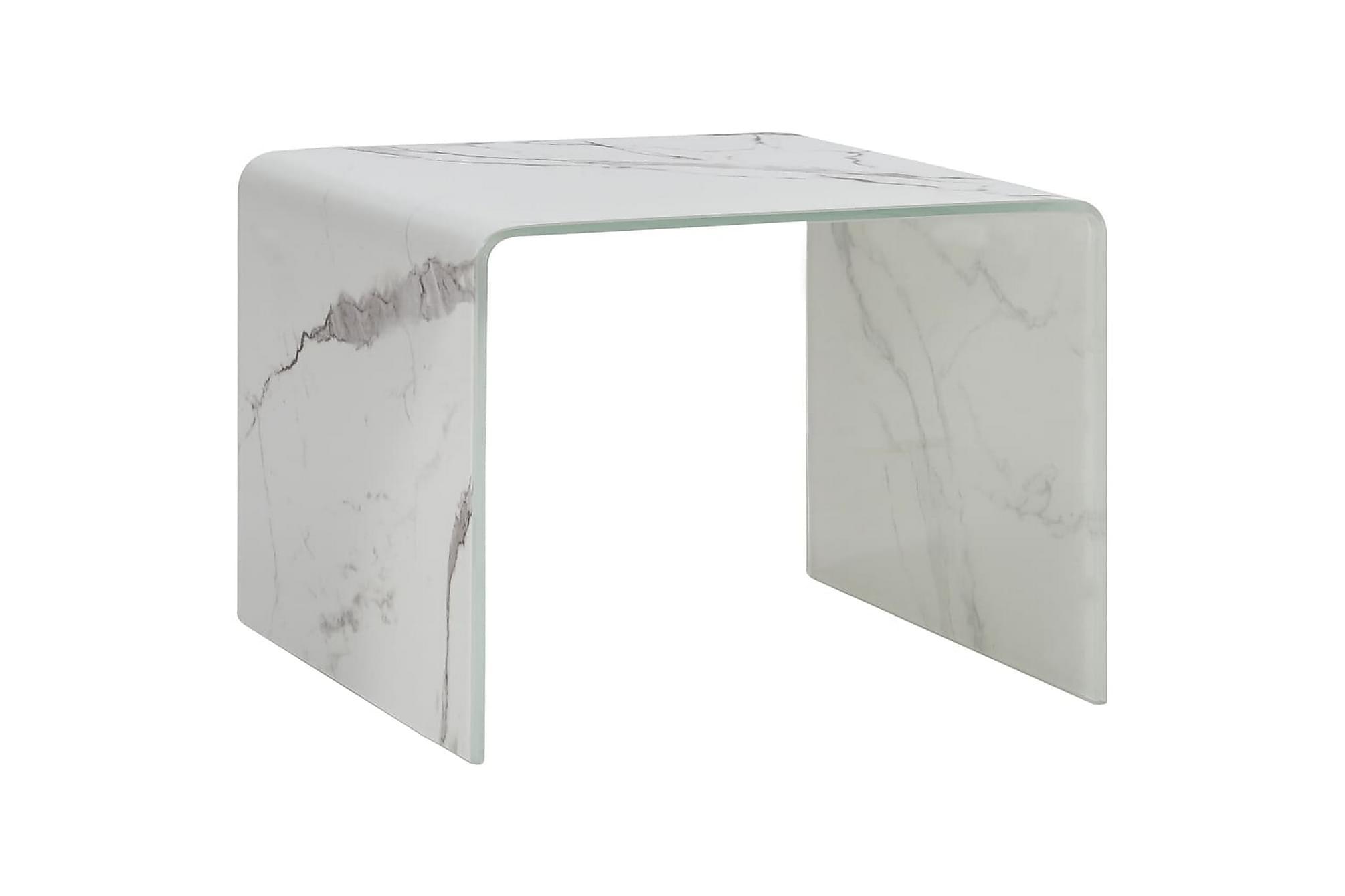 Soffbord vit marmor 50x50x45 cm härdat glas