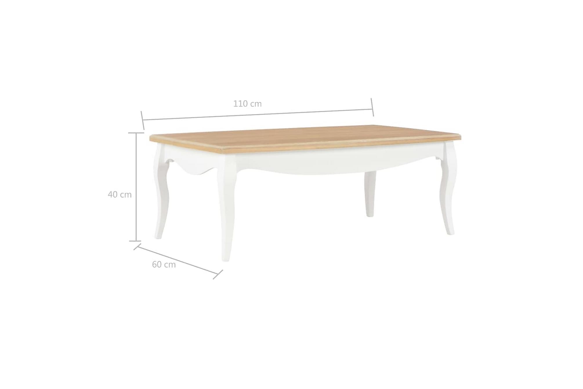 Soffbord vit och brun 110x60x40 cm massiv furu