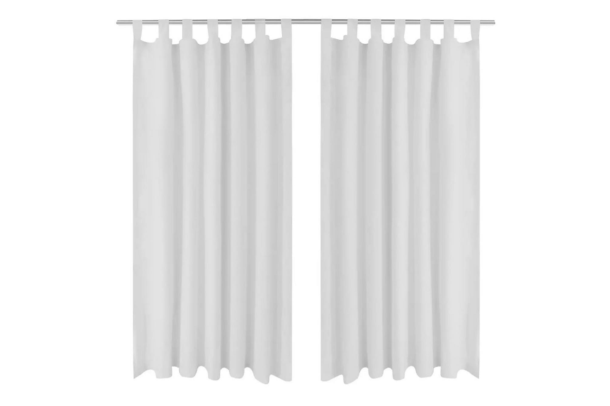 2-pack gardiner med öglor i vit microsatin 140 x 225 cm, Gardiner & gardinupphängning