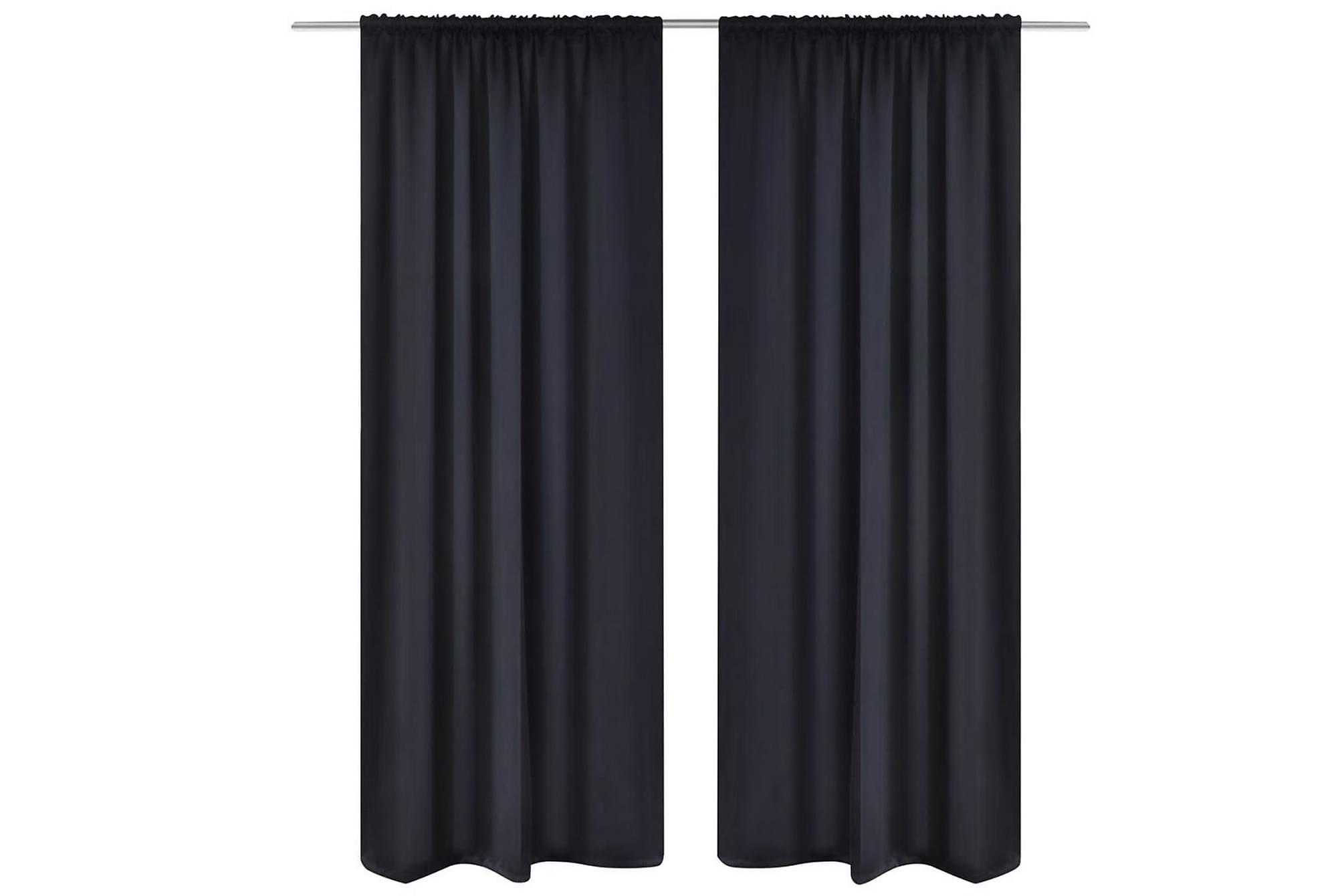 2-pack svarta gardiner med hyskupphängning 135 x 245 cm, Gardiner & gardinupphängning