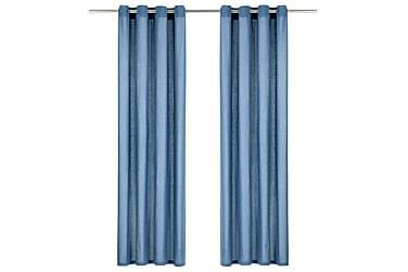 Gardiner med metallringar 2 st bomull 140x225 cm blå