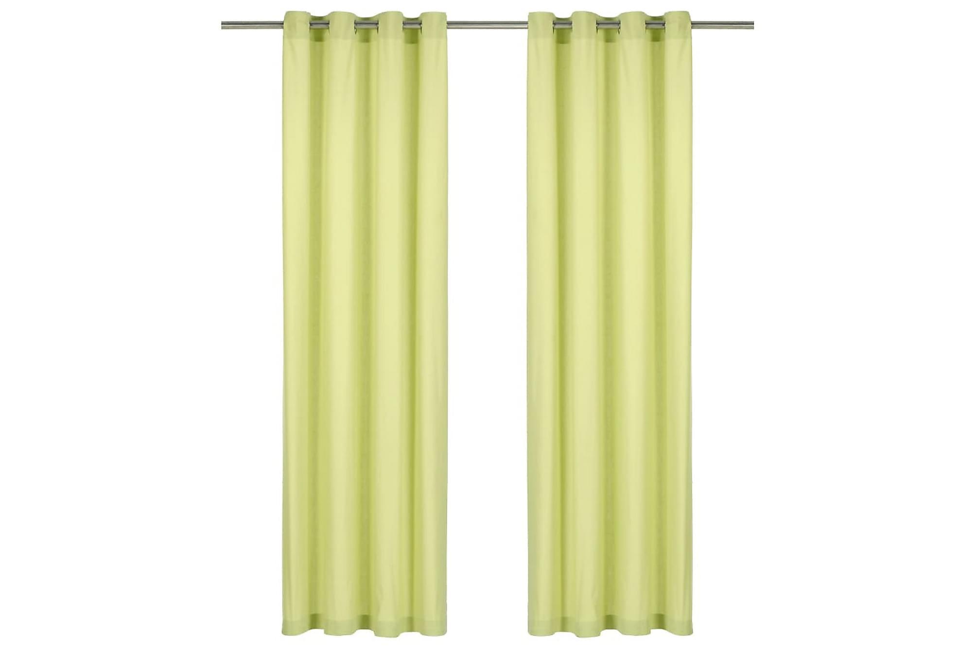 Gardiner med metallringar 2 st bomull 140×225 cm grön