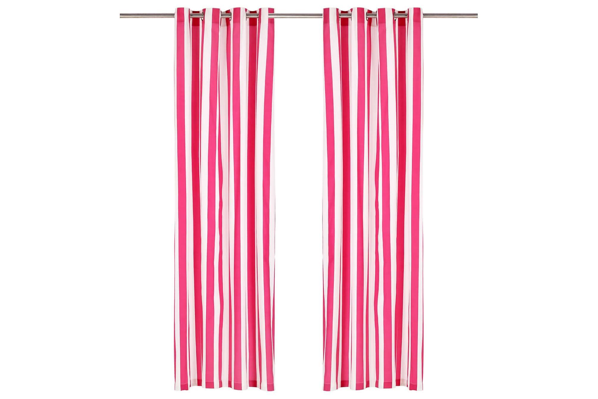 Gardiner med metallringar 2 st tyg 140×225 cm rosa randig