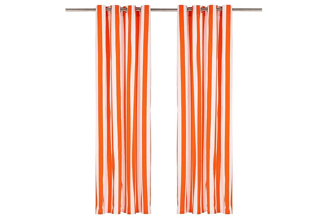 Gardiner med metallringar 2 st tyg 140x245 cm orange ränder - Orange - Möbler & Inredning - Inredning - Gardiner & gardinupphängning