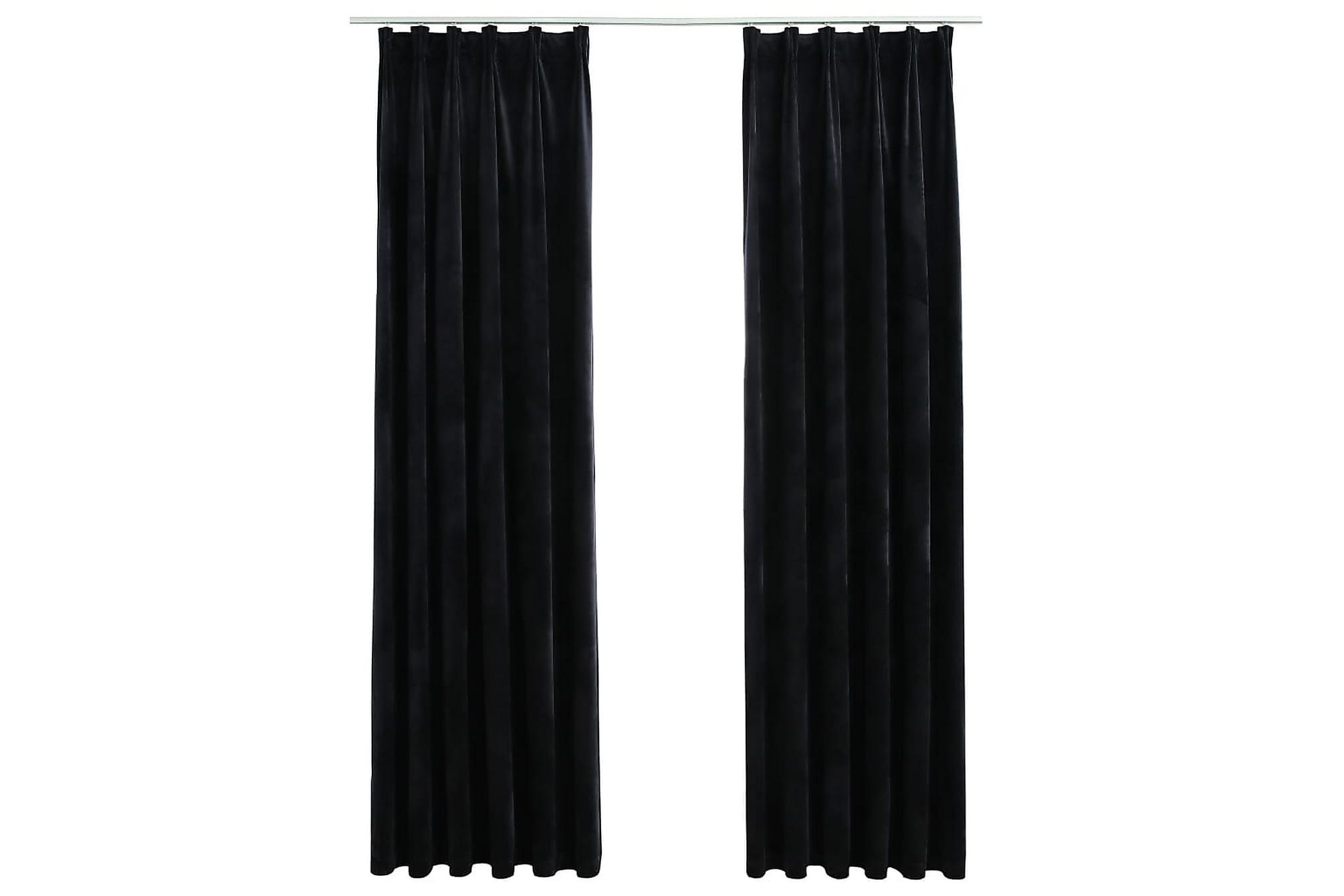 Mörkläggningsgardiner 2 st med krokar sammet svart 140×225