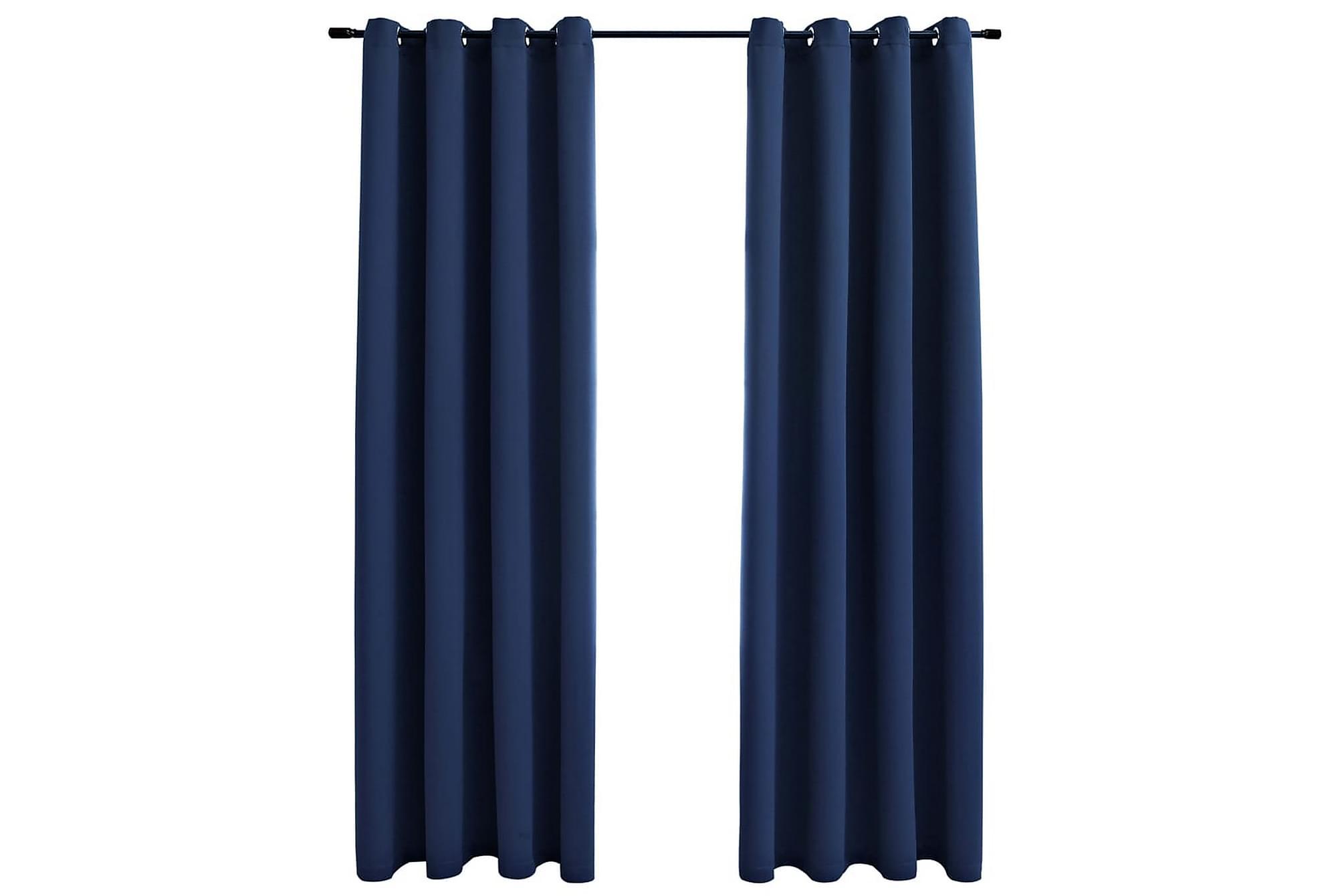 Mörkläggningsgardiner med metallringar 2 st blå 140×175 cm