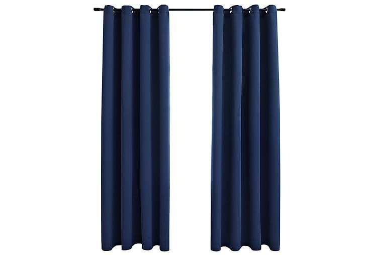 Mörkläggningsgardiner med metallringar 2 st blå 140x225 cm - Blå - Möbler & Inredning - Inredning - Gardiner & gardinupphängning