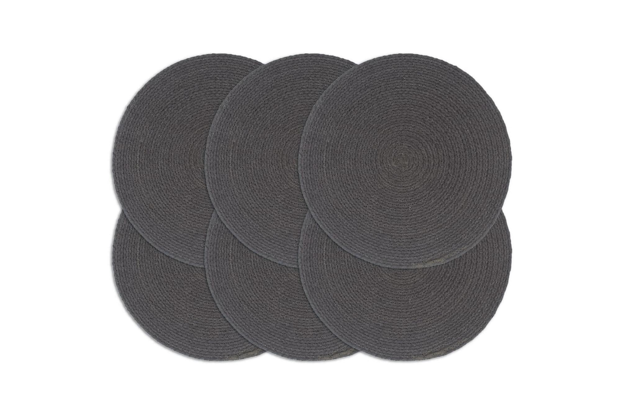 Bordstabletter 6 st mörkgrå 38 cm rund bomull, Kökstextilier