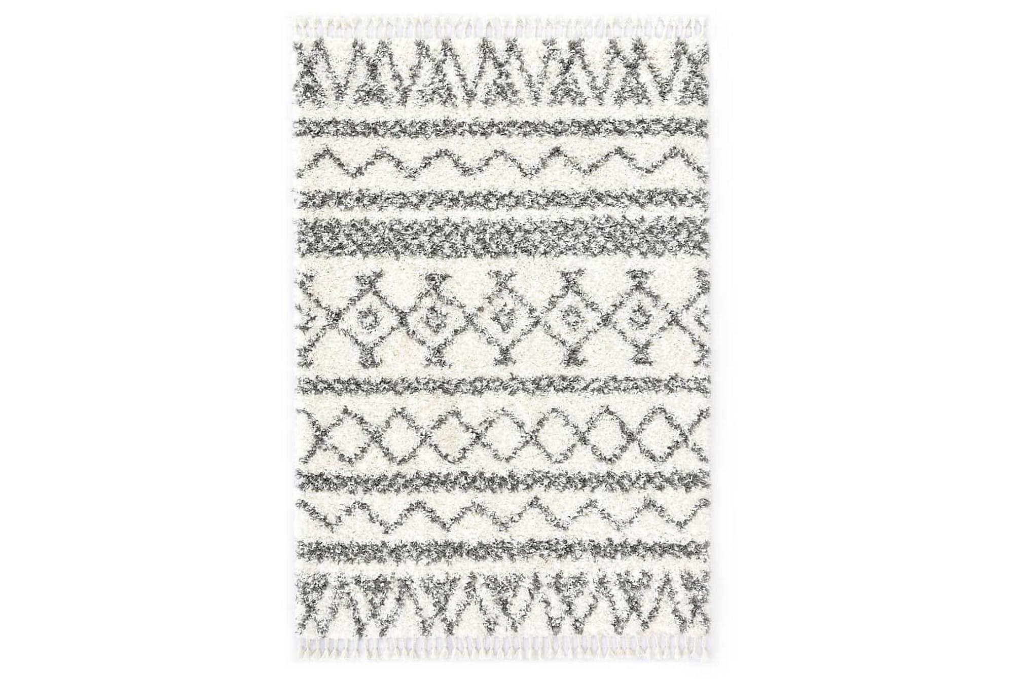 Berbermatta långhårig PP beige och grå 160×230 cm
