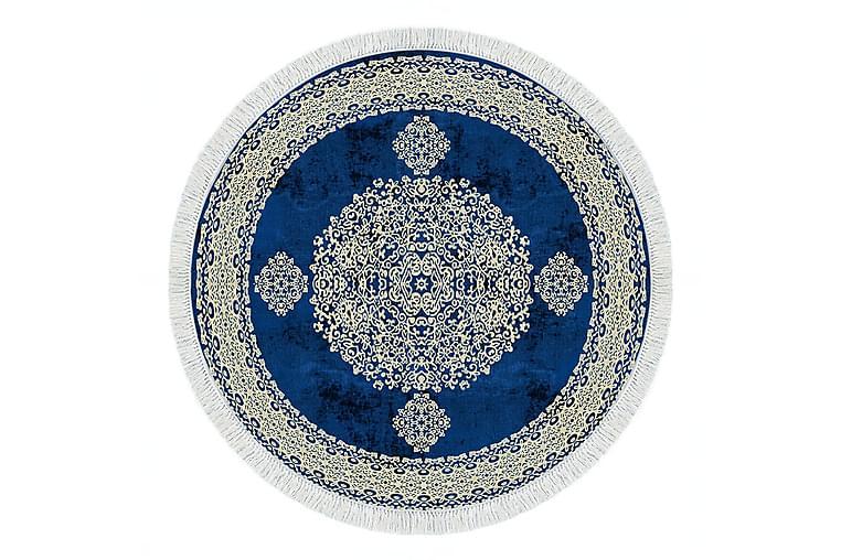 ALANUR HOME Matta 160x160 cm Cremevit/Blå - Möbler & Inredning - Mattor - Wiltonmattor