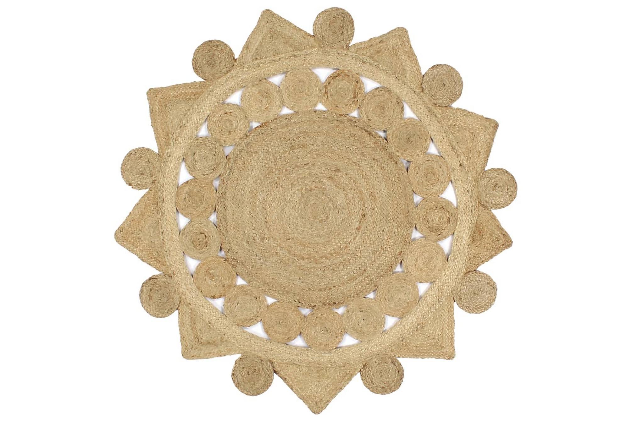 Handgjord jutematta flätad 120 cm, Handvävda mattor