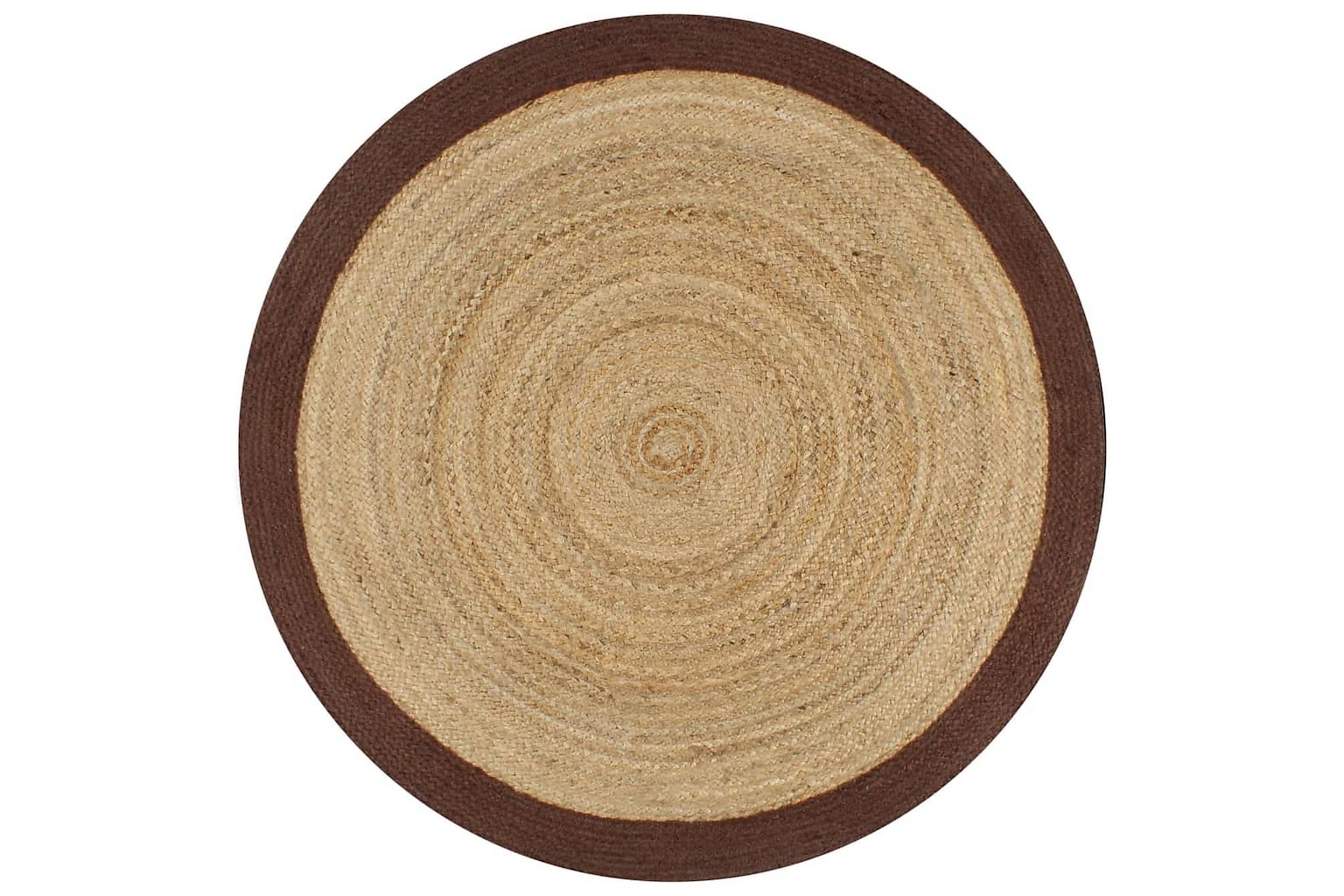 Handgjord jutematta med brun kant 90 cm, Handvävda mattor