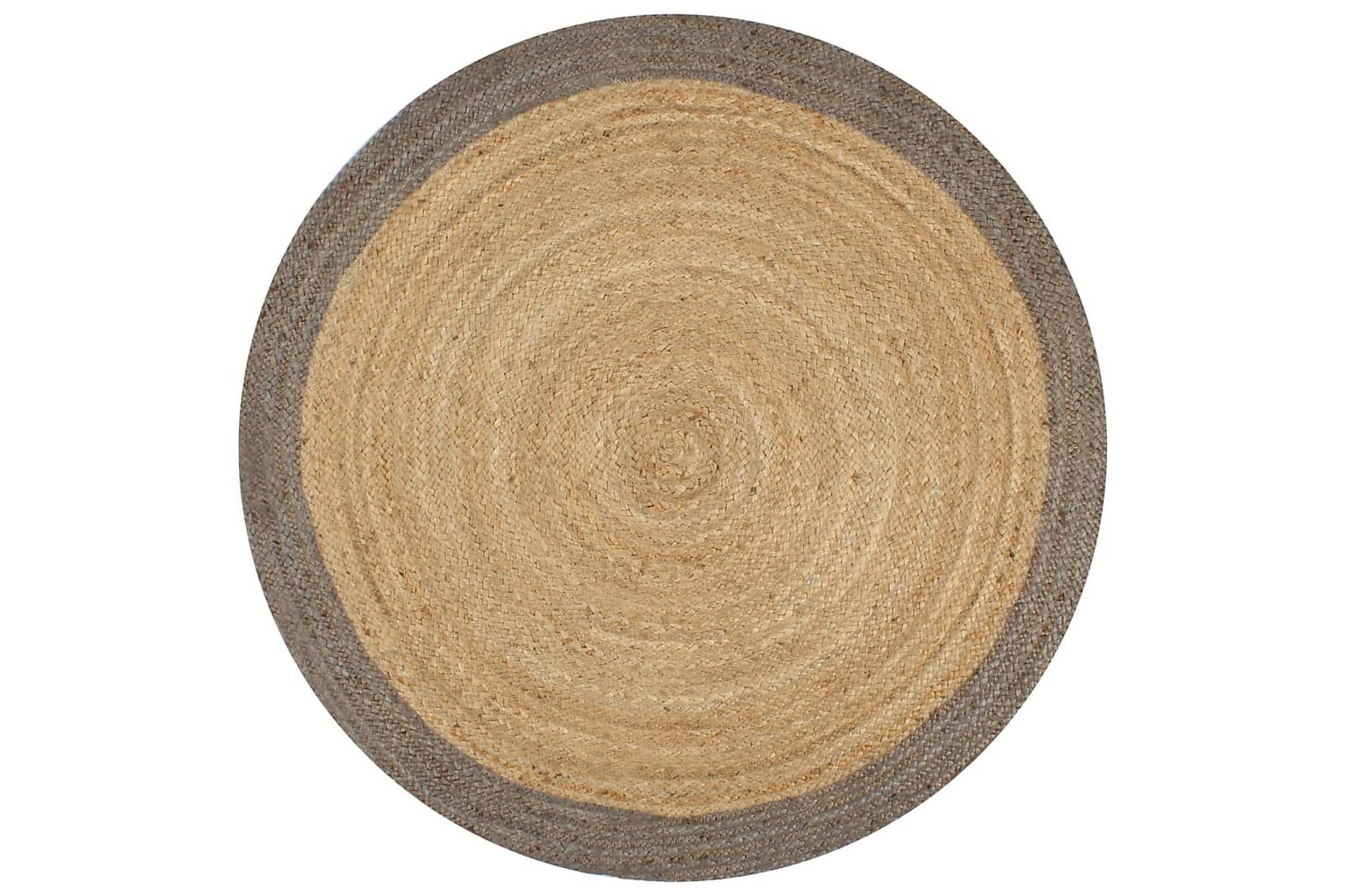 Handgjord jutematta med grå kant 150 cm, Handvävda mattor
