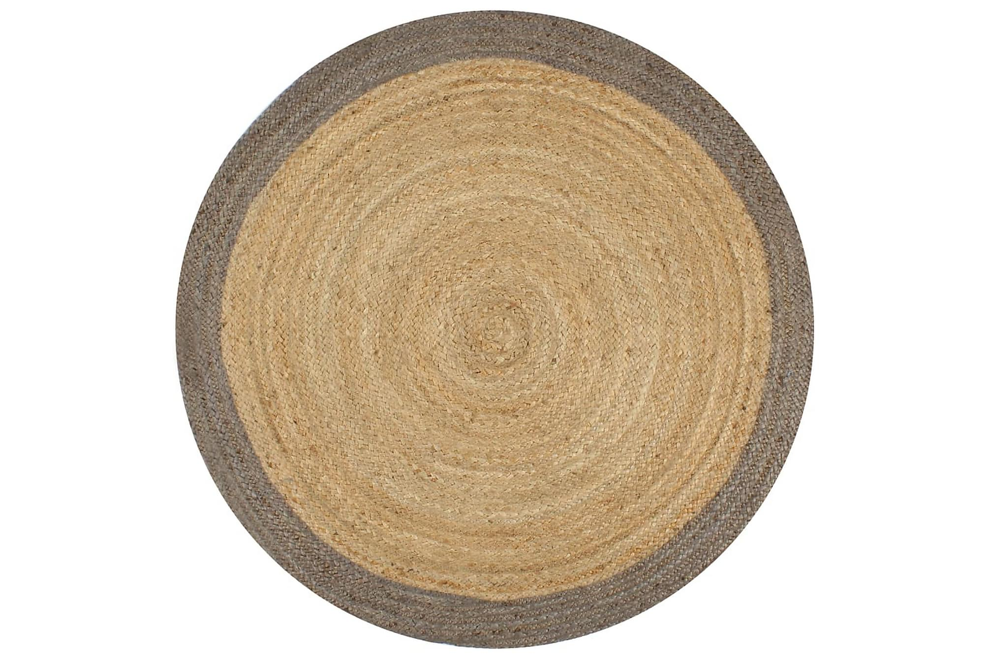 Handgjord jutematta med grå kant 90 cm, Handvävda mattor