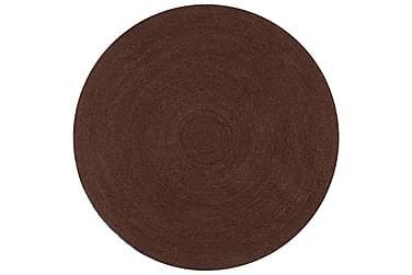 Handgjord jutematta rund 120 brun