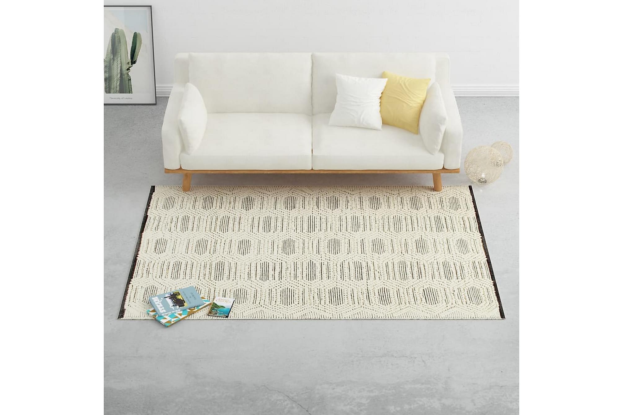 Matta handvävd ull 120×170 cm vit/svart